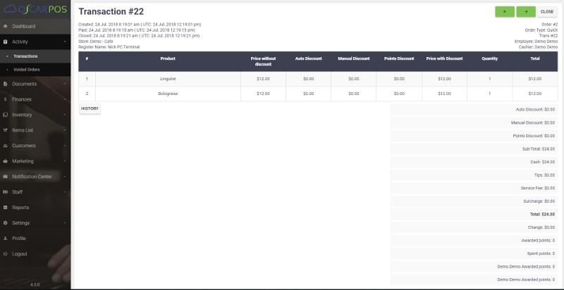 OscarPOS Cloud - Backoffice - Transactions - Detail