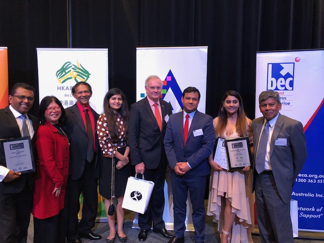 Kirt Kirtisingham ( OscarPOS C.E.O ) with the Consul General of India, his wife, President Hong Kong Assn, VP Australian Asian Assn, ... at the Belmont Business Awards 2018