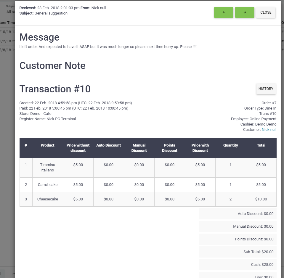 BOM - Customers - Feedback - Detail