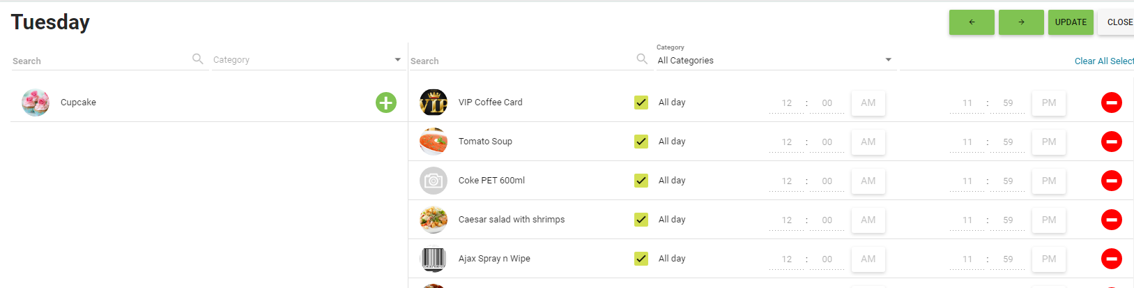 BOM - Items List - Daily Menu - Remove an Item From Sale