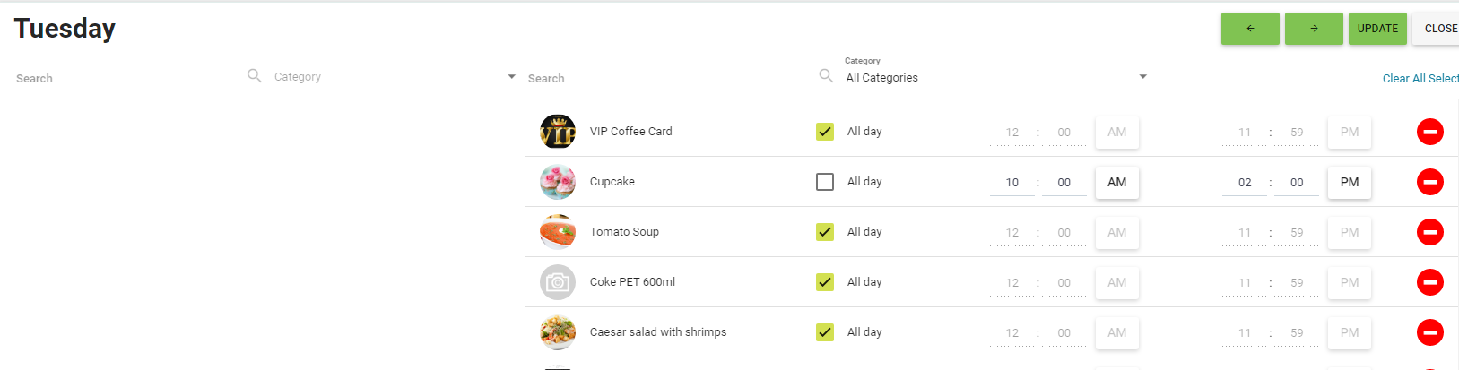 BOM - Items List - Daily Menu - Set a Time Period