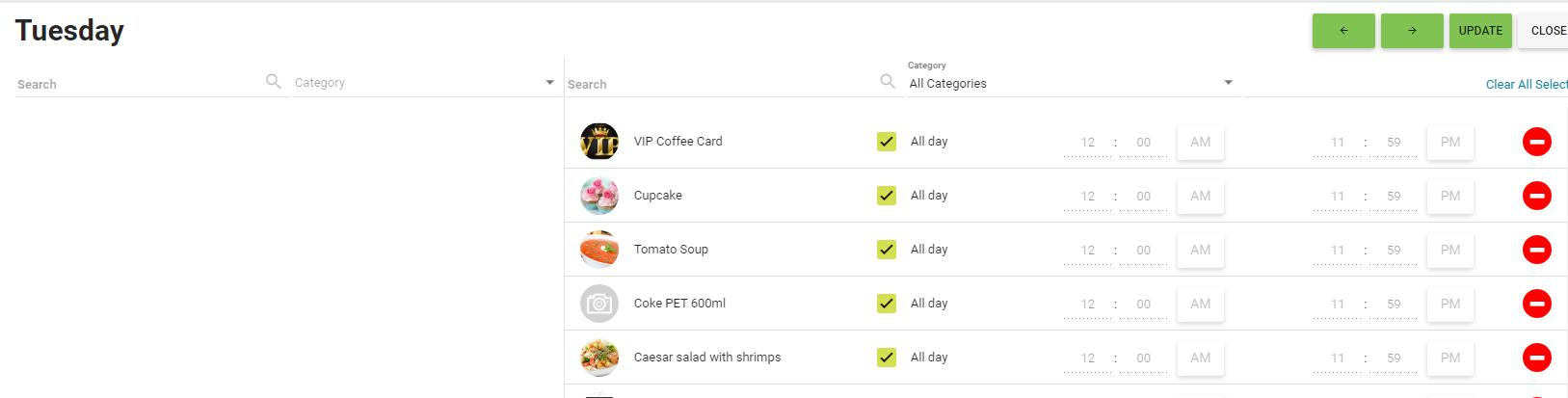BOM - Items List - Daily Menu - Tuesday - Default