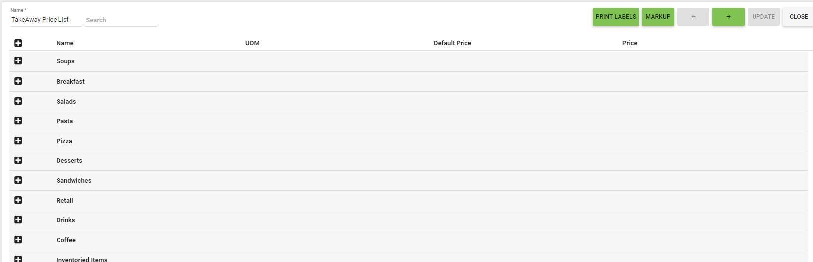 BOM - Items List - Price Lists - Edit - Collapsed