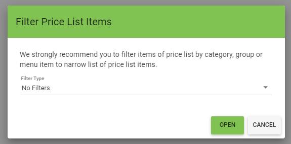 BOM - Items List - Price Lists - Edit - FIlter
