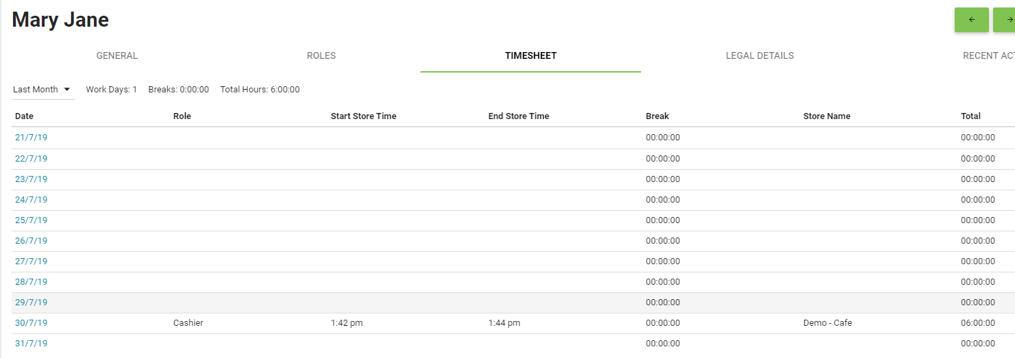 BOM - Staff - Employee Card - Time Sheet with Clocked Hours