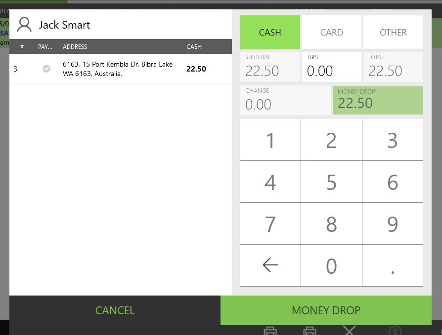 POS APP - Delivery Order Screen - Money Drop