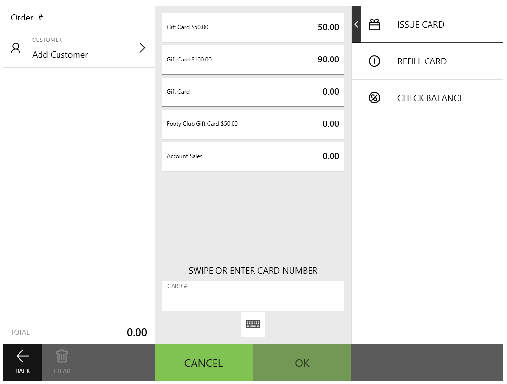 POS APP - Order Screen - GIft Card - Issue Refill Check
