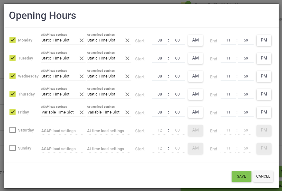 OscarPOS Cloud - Point of Sale - Assign Time Slots to Store Card